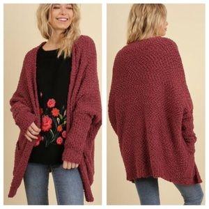 Umgee Burgundy Plush Popcorn Cardigan Sweater